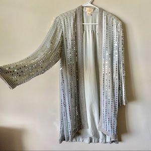 Jackets & Blazers - Vintage silver sequin silk trophy duster jacket